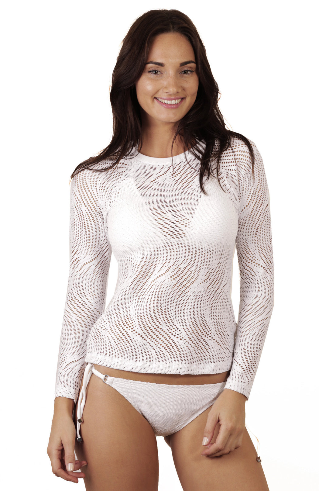 A light lace wetshirt cover-up with active styling from Finch Swim