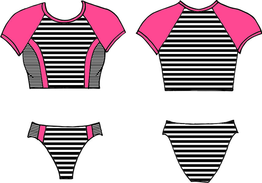 Finch Swim High-cut Bikini in Pink/Black