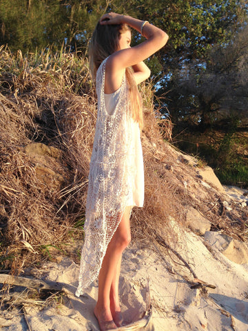 J13 long lace jacket side view with Sand slip dress