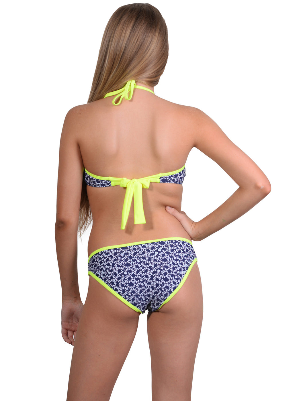 Back of Indigo Vibe high neck girls halter bikini