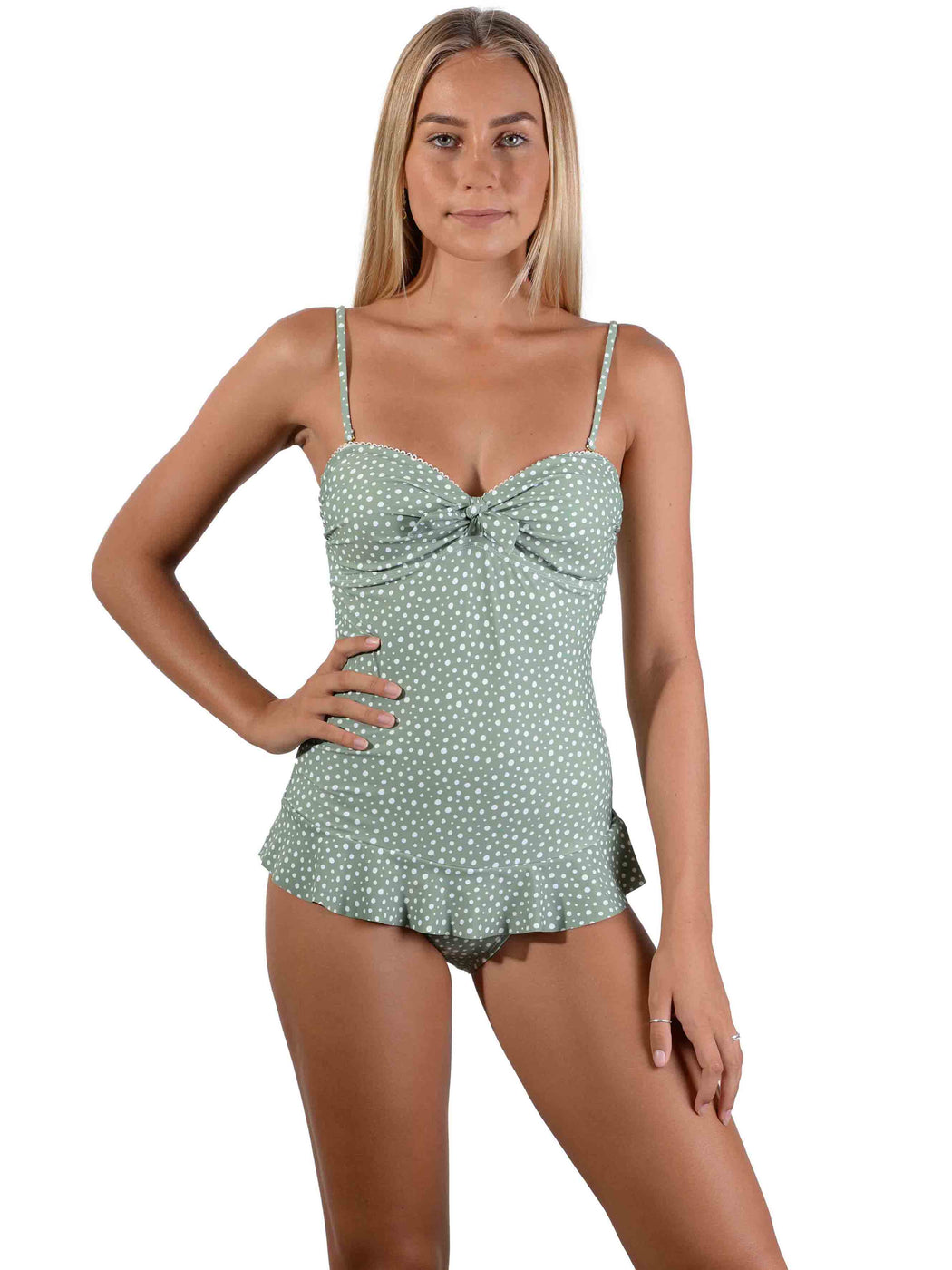 Front of Kokomo Palm Bandeau Frill Onepiece