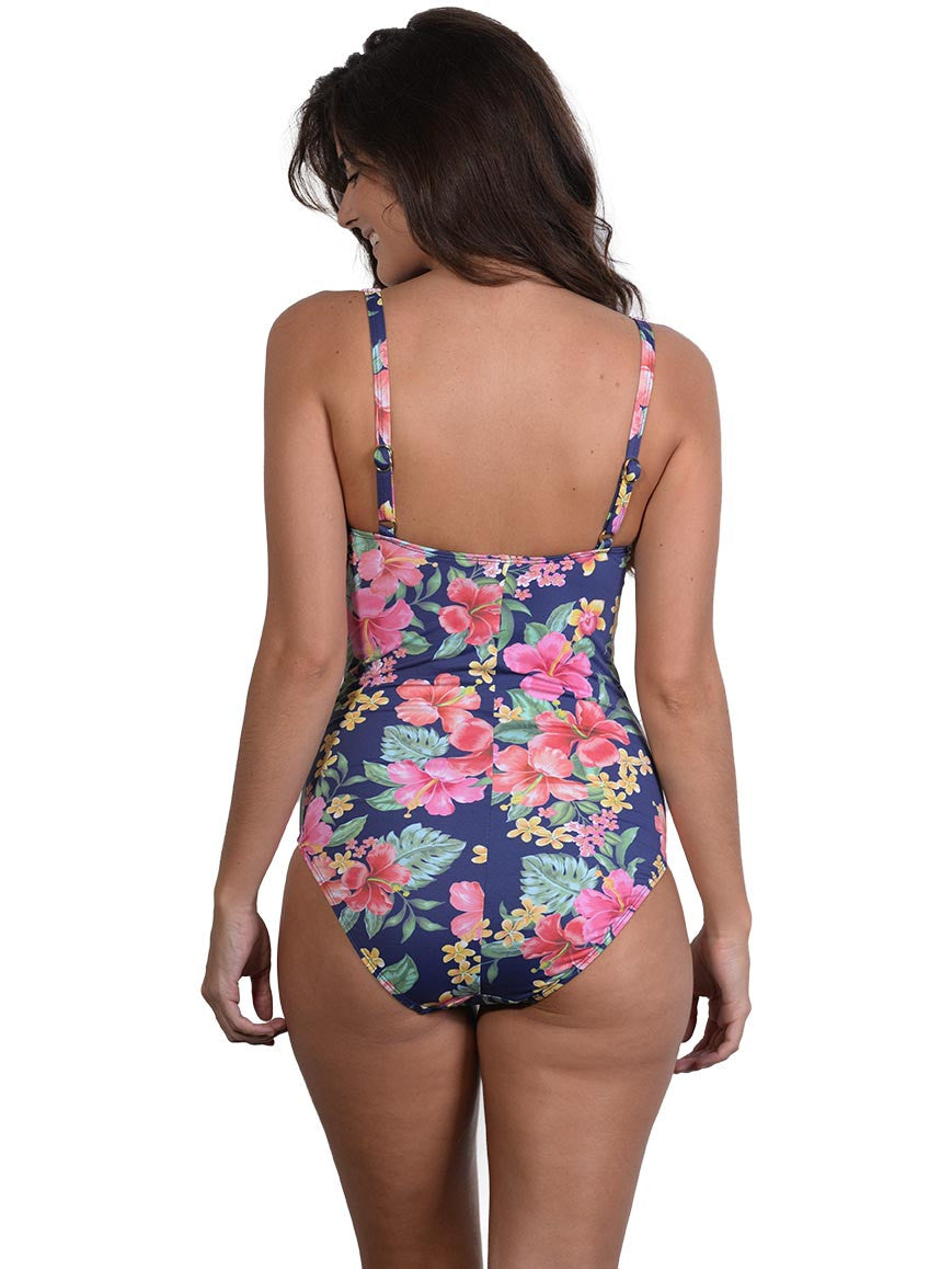 Back view of Leilani D-E Cup Ruched Onepiece