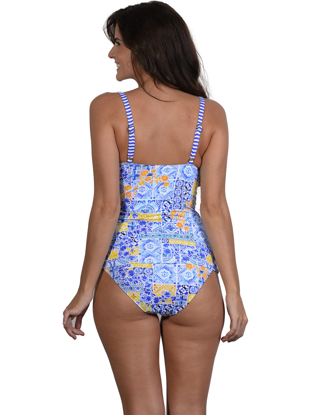Mosaic D-E Cup Ruched Singlet Top back view