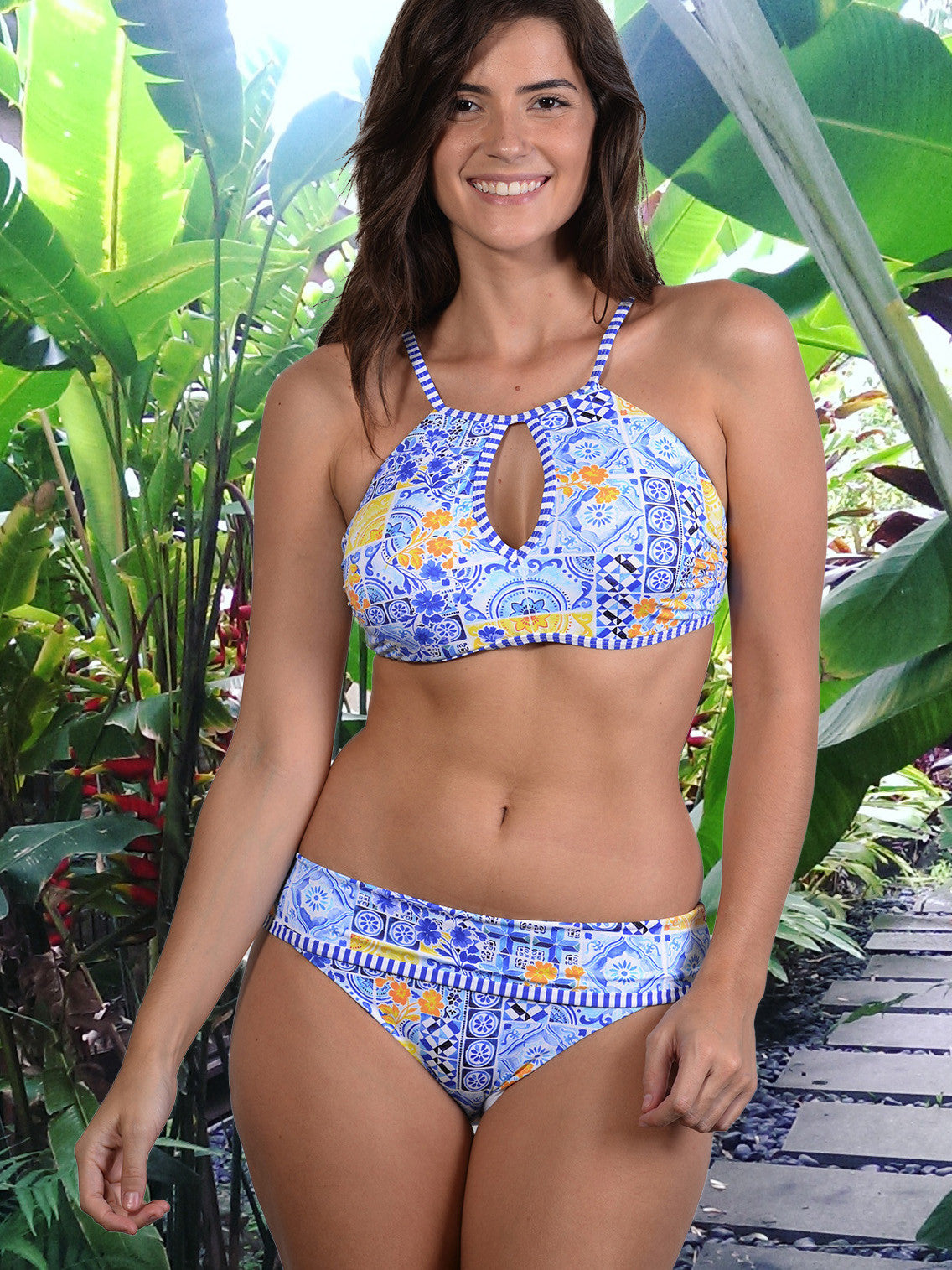 Mosaic D-E Cup Keyhole Top with Underwire