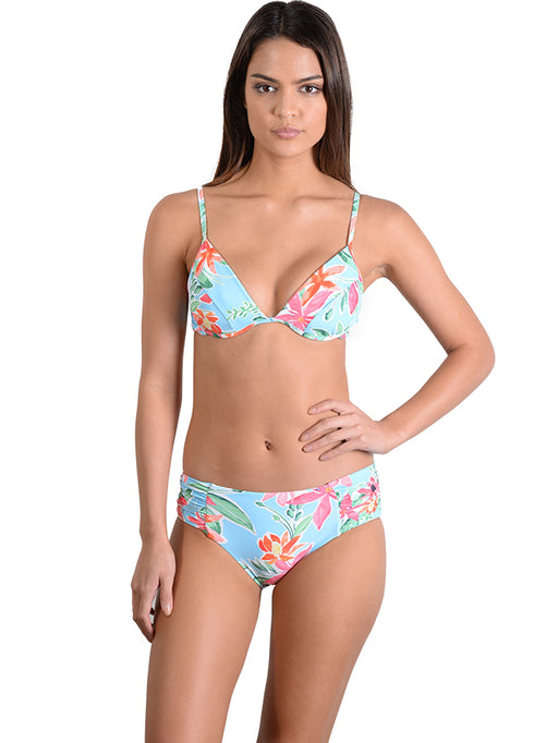 Paradise Sands Ruche Side Retro Bikini Pant with B-C Underwire Bralette in Waterfall
