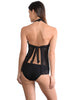 Back view of Santorini Tie-Back Halter Tankini Top in Black