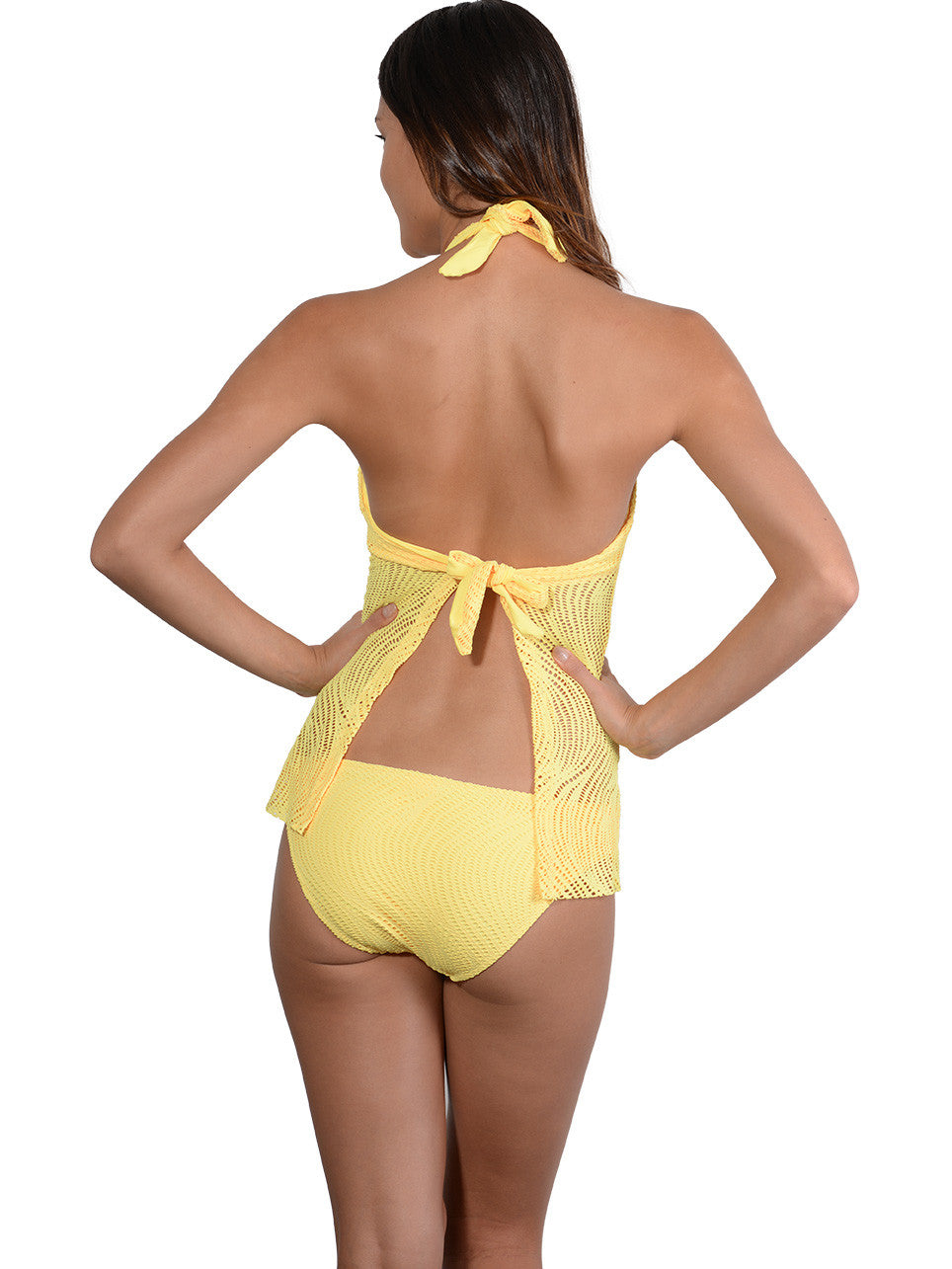 Back view of Santorini Tie-Back Halter Tankini Top