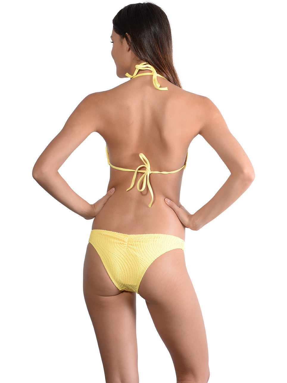 Back view of Santorini Brazilian Bikini Pant in Daisy
