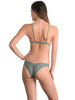 Back view of Santorini Bralette Bikini Top in Khaki with Brazilian pant