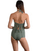 Back view of Santorini Tie-Back Halter Tankini Top in Khaki