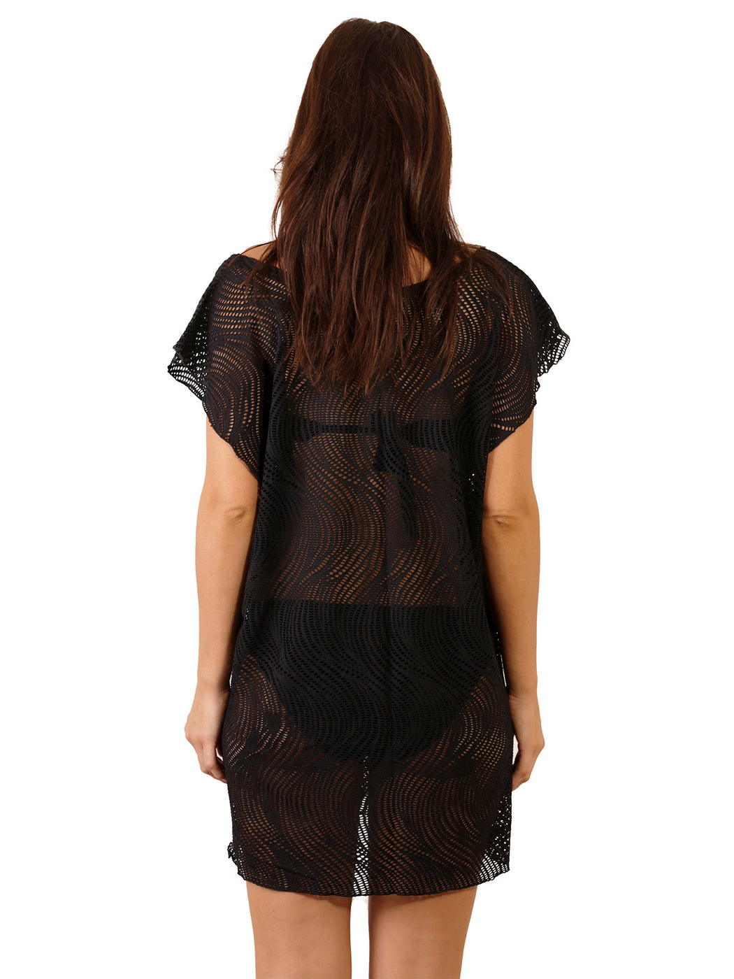 Back view of Santorini Lace Cover Up in Black