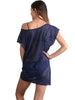 Back view of Santorini Lace Coverup Dress in Indigo