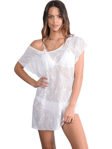 Santorini Lace Coverup Dress in White