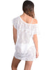 Back view of Santorini Lace Coverup Dress in White