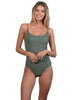 Tank Onepiece with athletic legline, shelf bra and adjustable straps