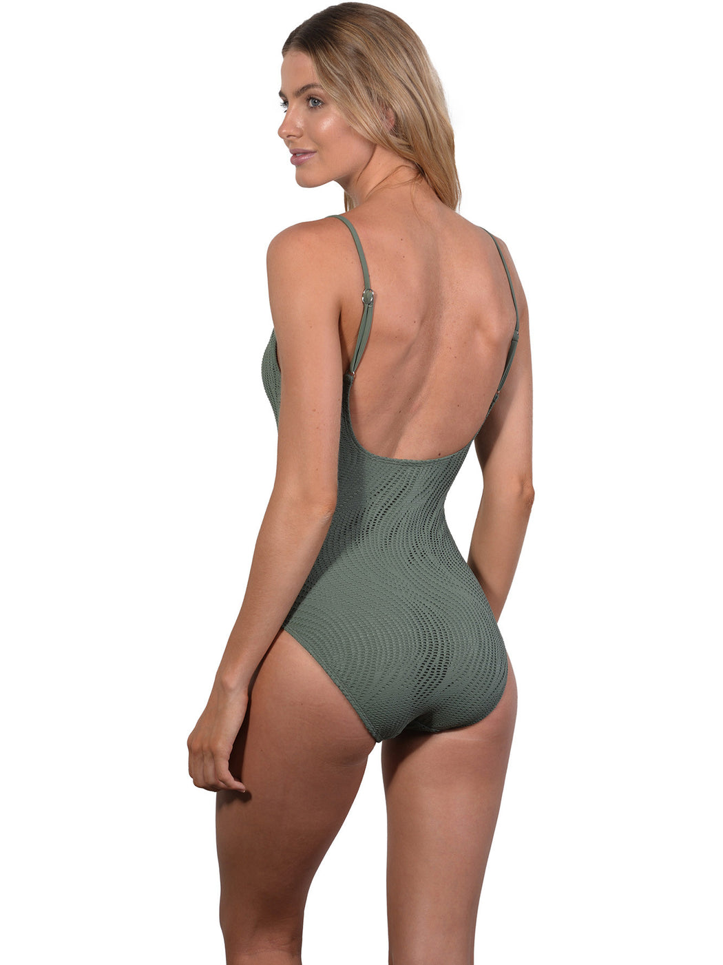 Back view of Tank Onepiece in Khaki Santorini
