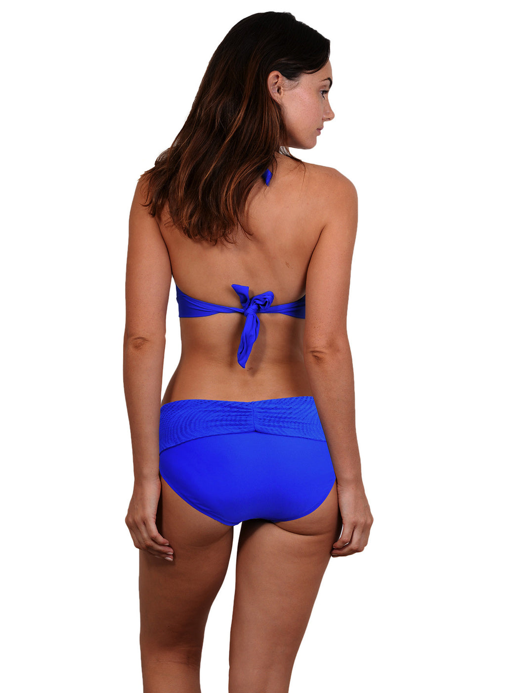 Back view of D-F Cup Halter Top in Lapis colour