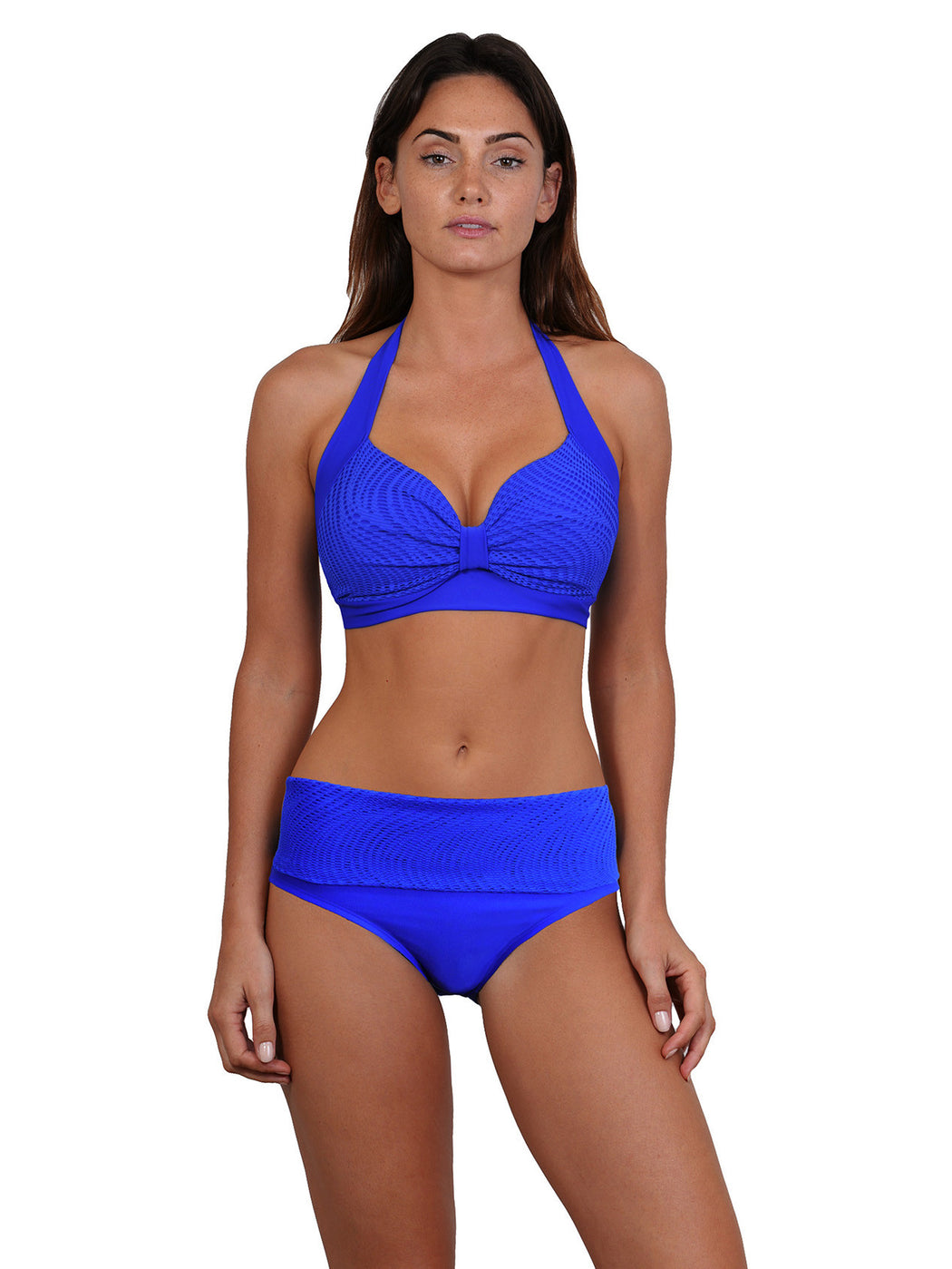 Lapis colour Finch Swim bikini top with tie neck/back removable cups