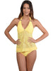 Santorini Tie-Back Halter Tankini Top in Daisy