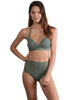 Santorini High Waist Bikini Pant in Khaki with D-F Cup Halter Top