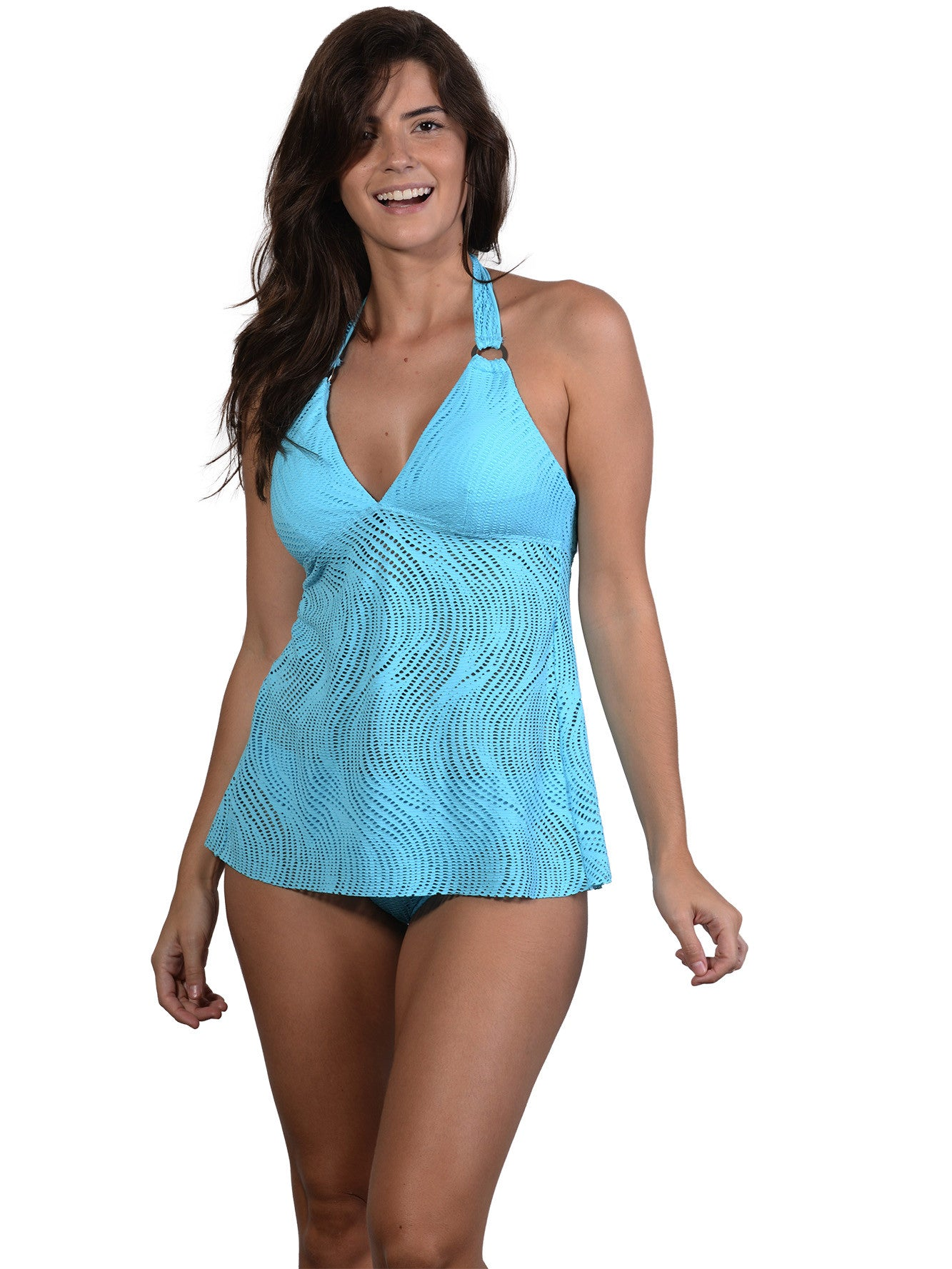 Finch Swim bikini top with tie neck/back, removable cups, silver rings.