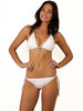 Finch Swim bikini bottom with tie sides, silver rings and cord ends in White colour.