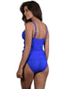 Back view of B-E Cup Ruche Singlet Top in Lapis Santorini