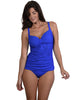 Singlet bikini top with adjustable straps, ruched front, and removable cups
