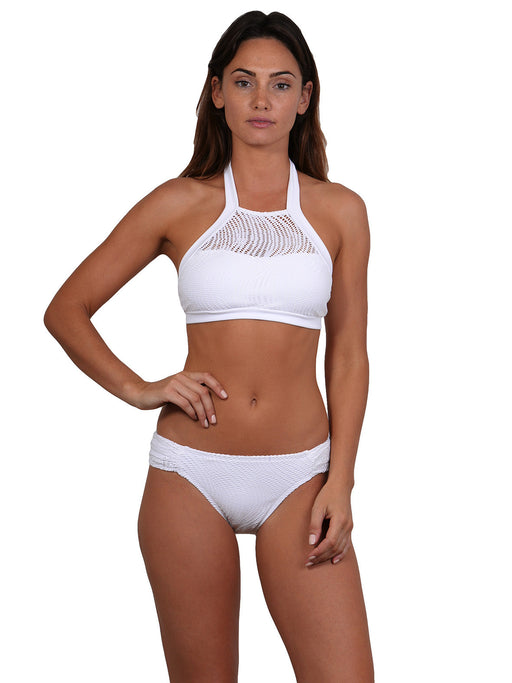 White Santorini bikini top with tie neck/back, removable cups, soft straps in an active style.