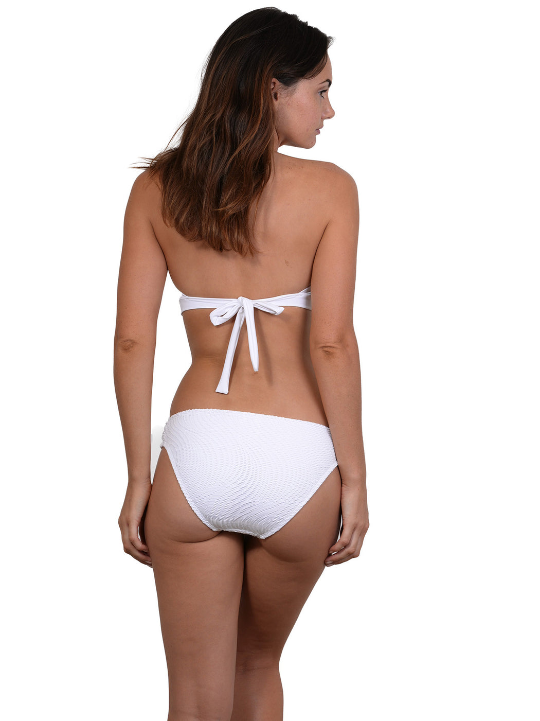 Back view of Soft Tie Halter Top in White Santorini