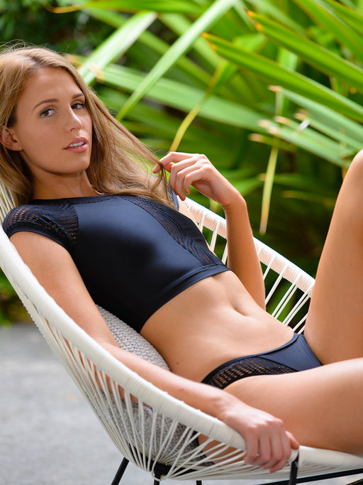 Surf Crop Top in Black Santorini by Finch Swim
