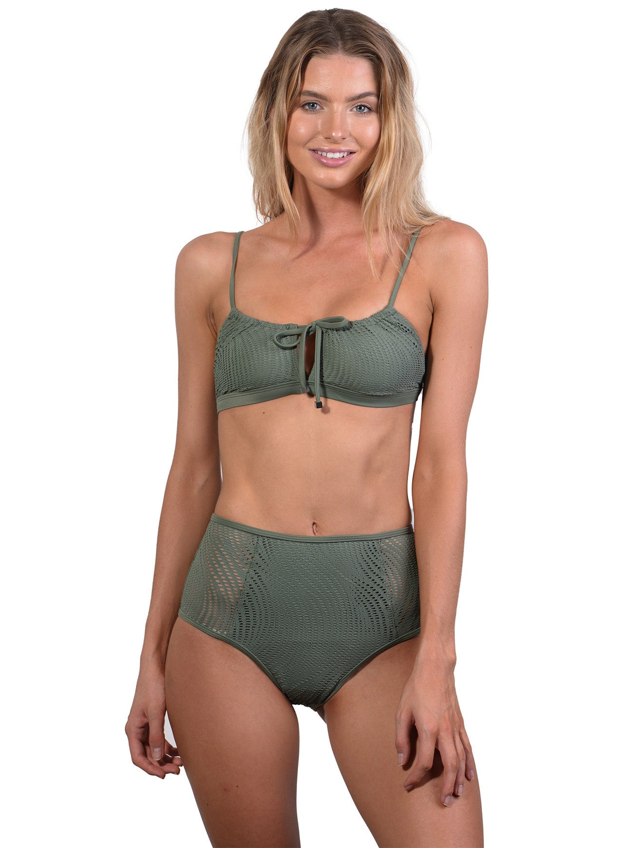Gathered Crop Top in Khaki Santorini by Finch Swim