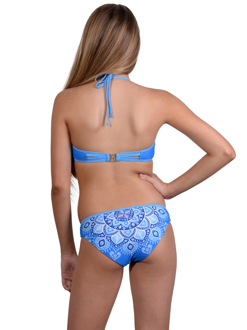 Back of Sari Sister high neck girls halter bikini in Ocean colour