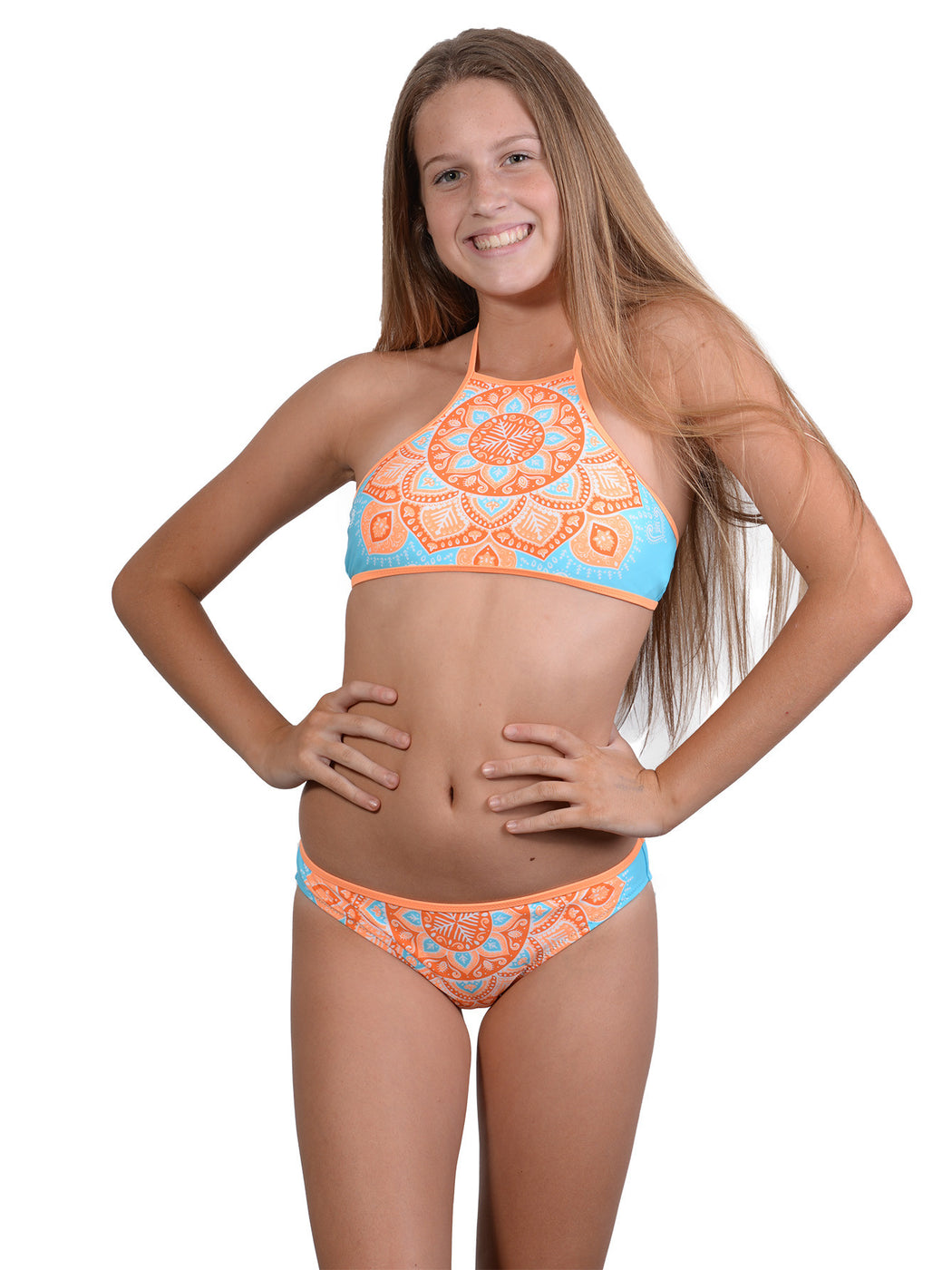Finch Girls bikini with active high neck top and hipster bottoms in Crush colour