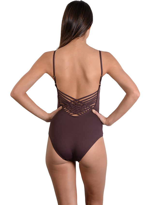 Seduce Cross Back Onepiece in Cocoa