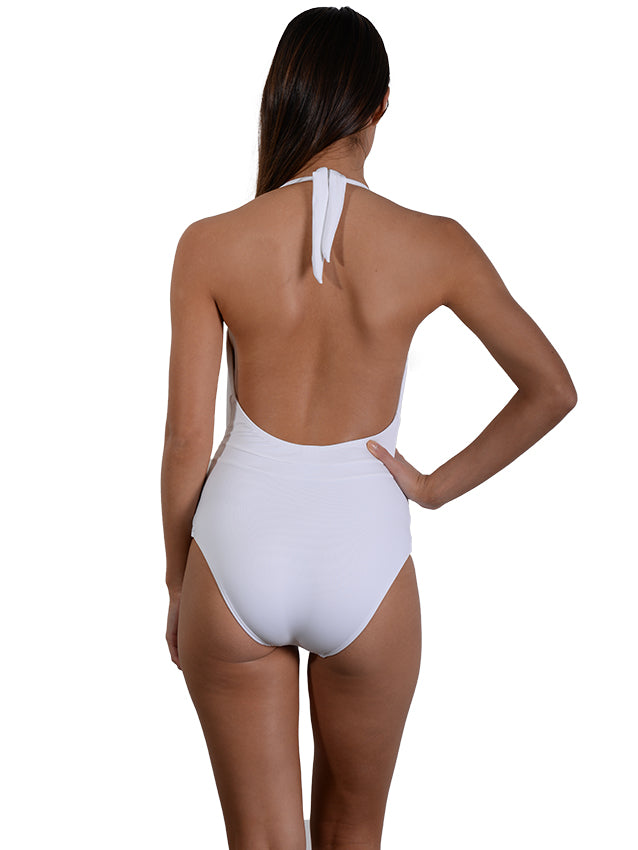 Back view of White Seduce Plunge Onepiece