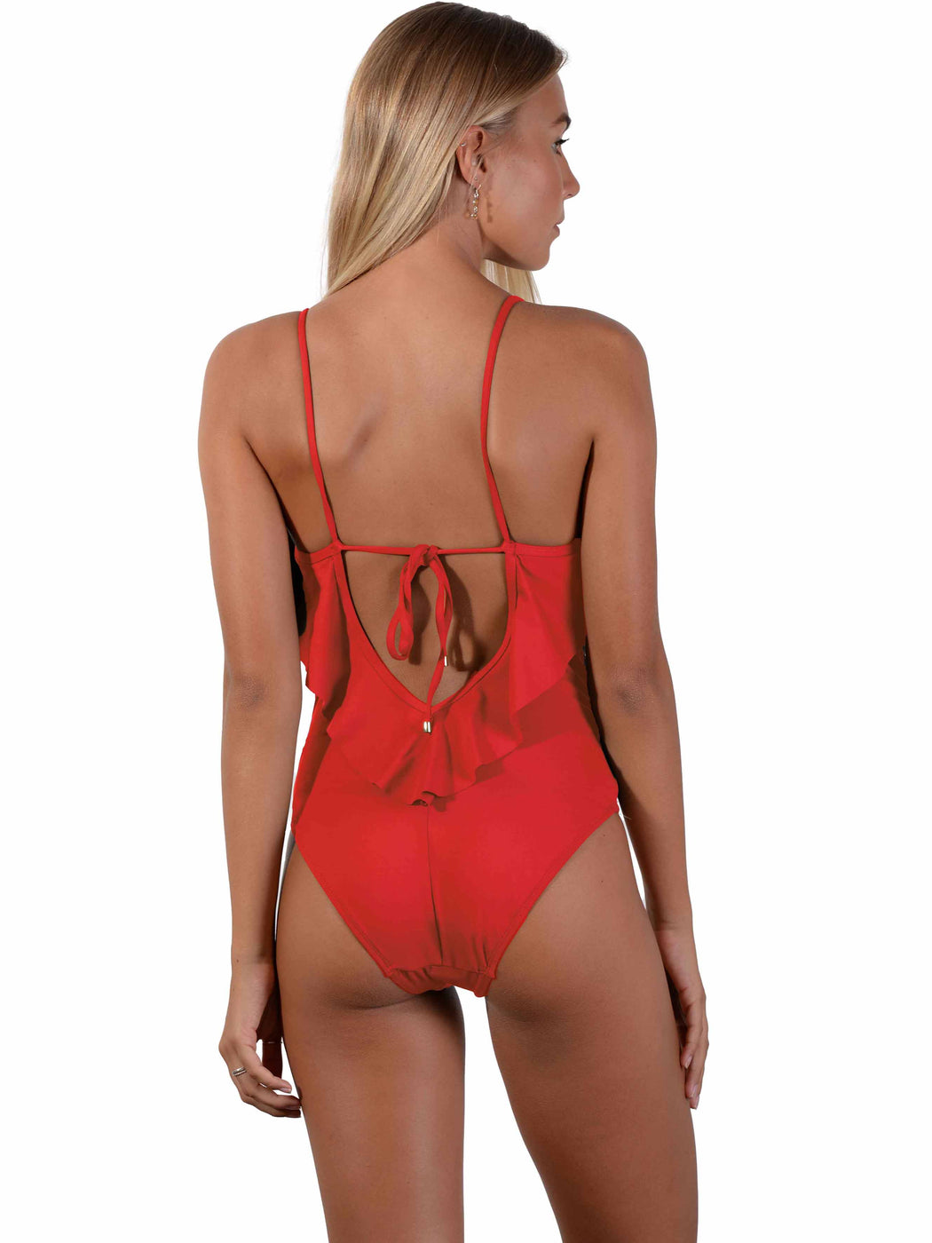 Back of Seduce Frill Onepiece in Chilli