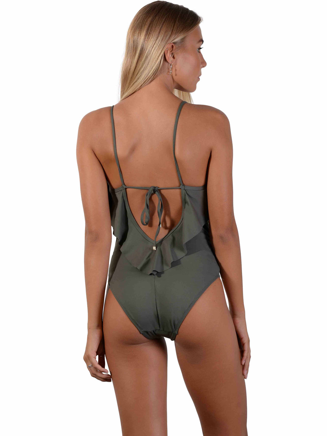 Back of Seduce Frill Onepiece in Khaki
