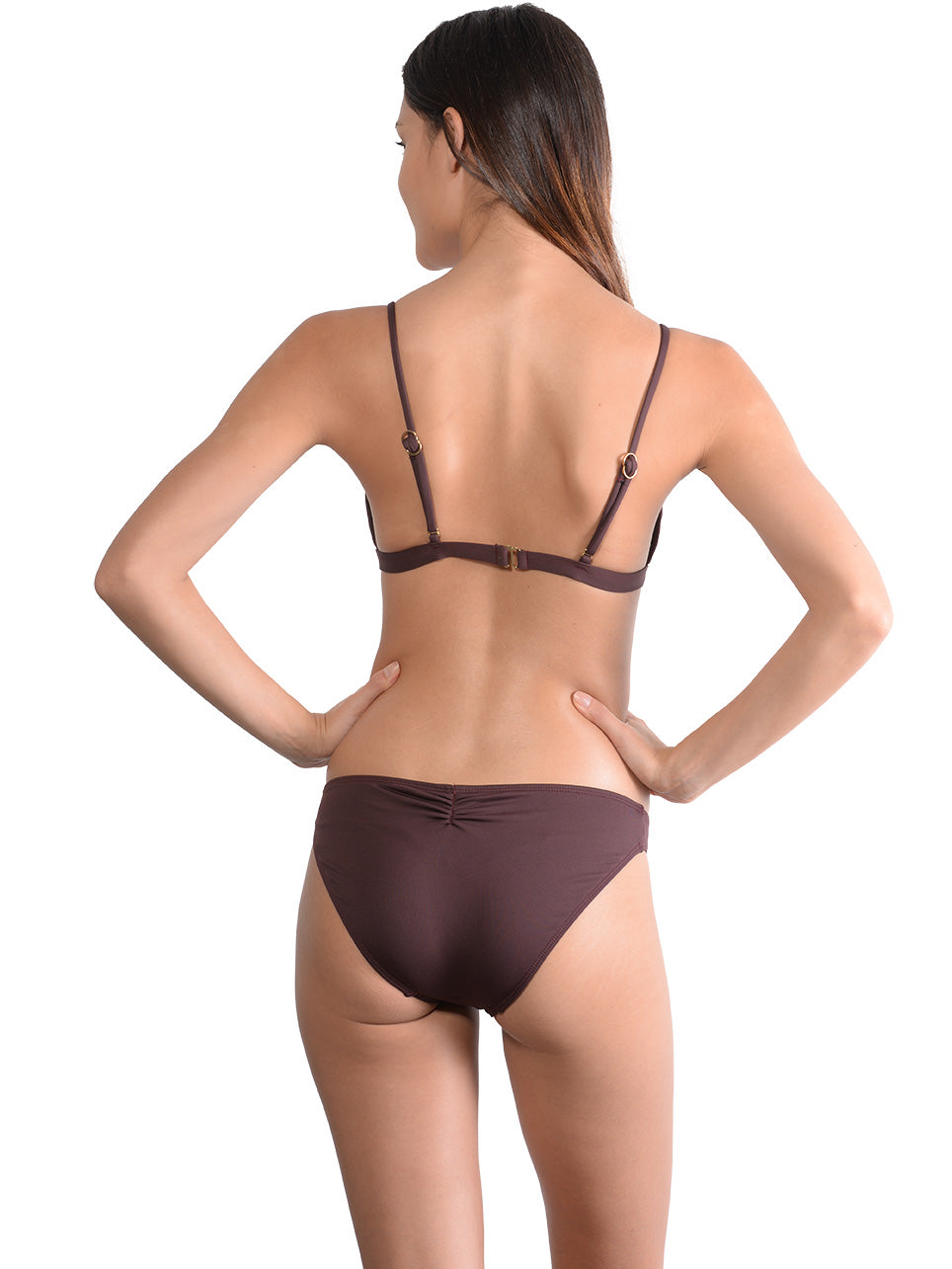 Back view of Seduce Keyhole Bralette Bikini Top in Cocoa