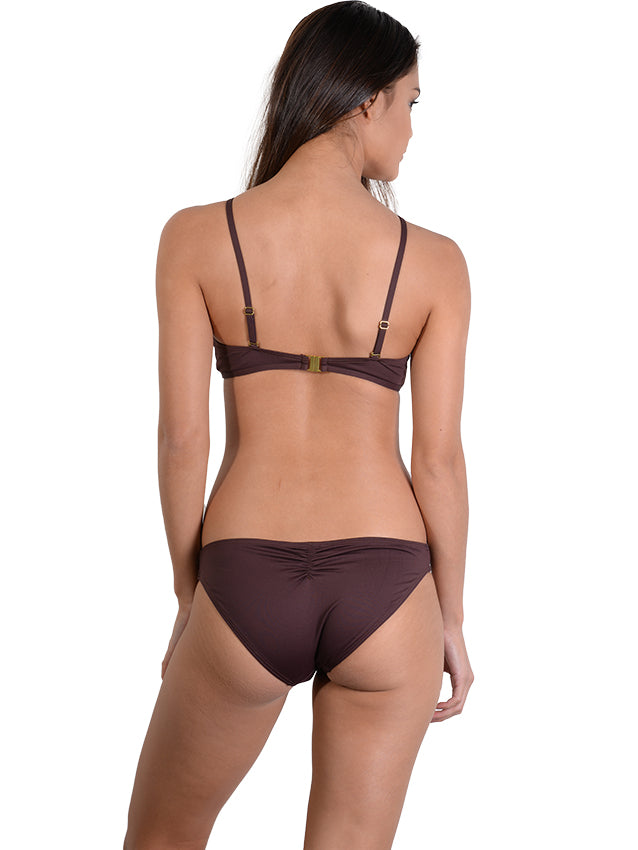 Back view of Seduce Tear Drop Bikini Top in Cocoa