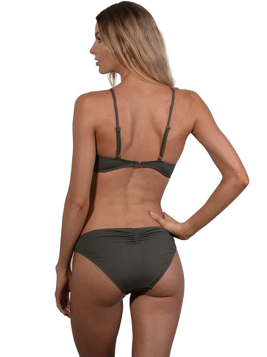 Back view of Seduce Tear Drop Bikini Top in Khaki
