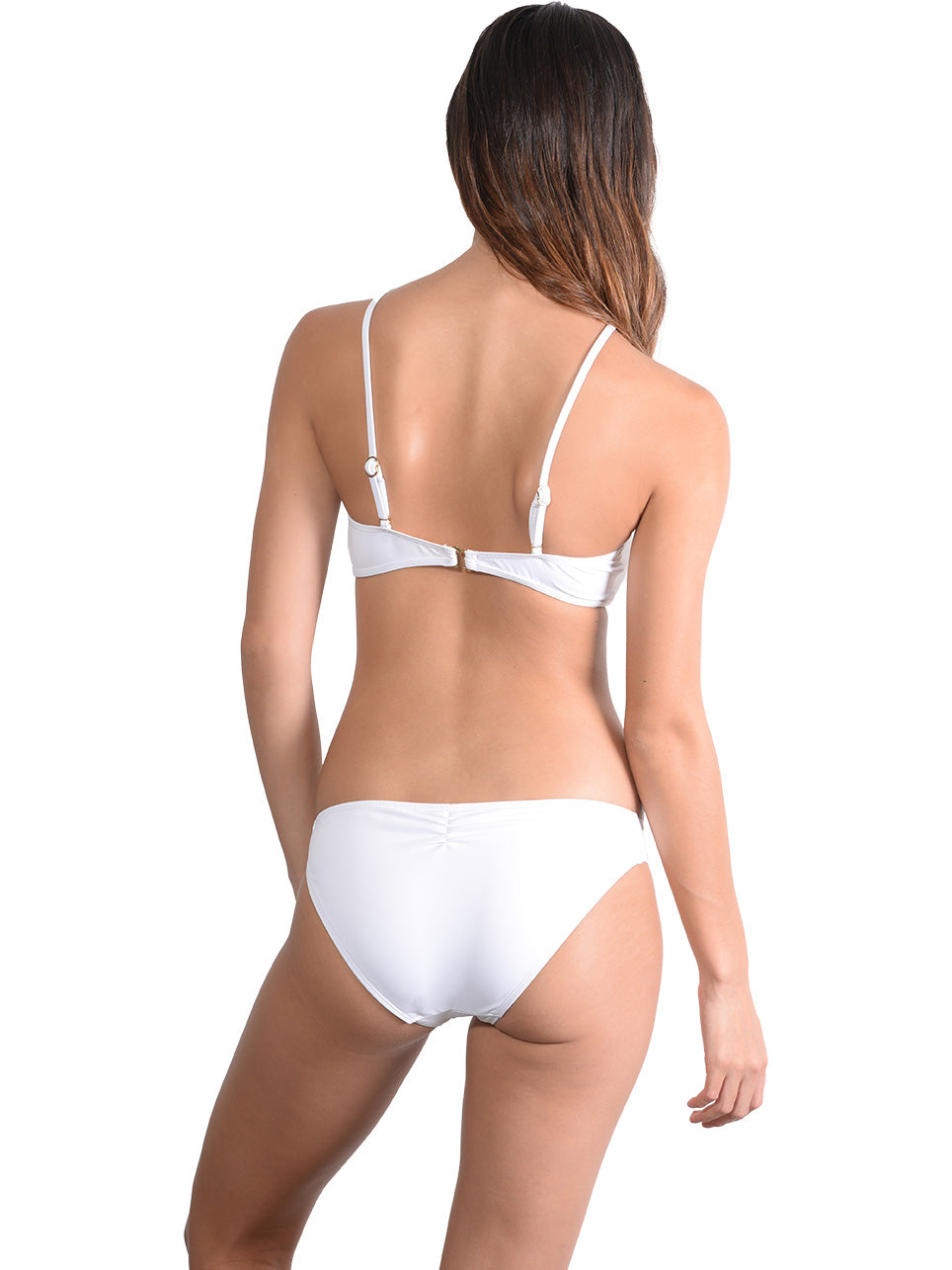 Back view of Seduce Tear Drop Bikini Top in White
