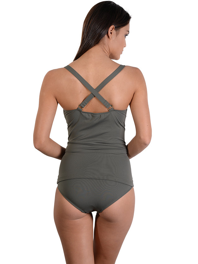 Back view of Khaki Seduce D/DD Hidden Underwire Singlet Bikini Top
