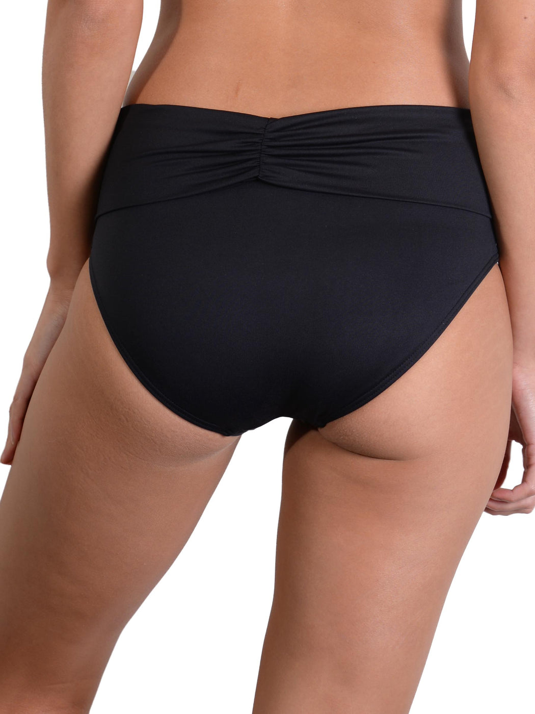 Back of Black Seduce Ruched Full Banded Bikini Pant
