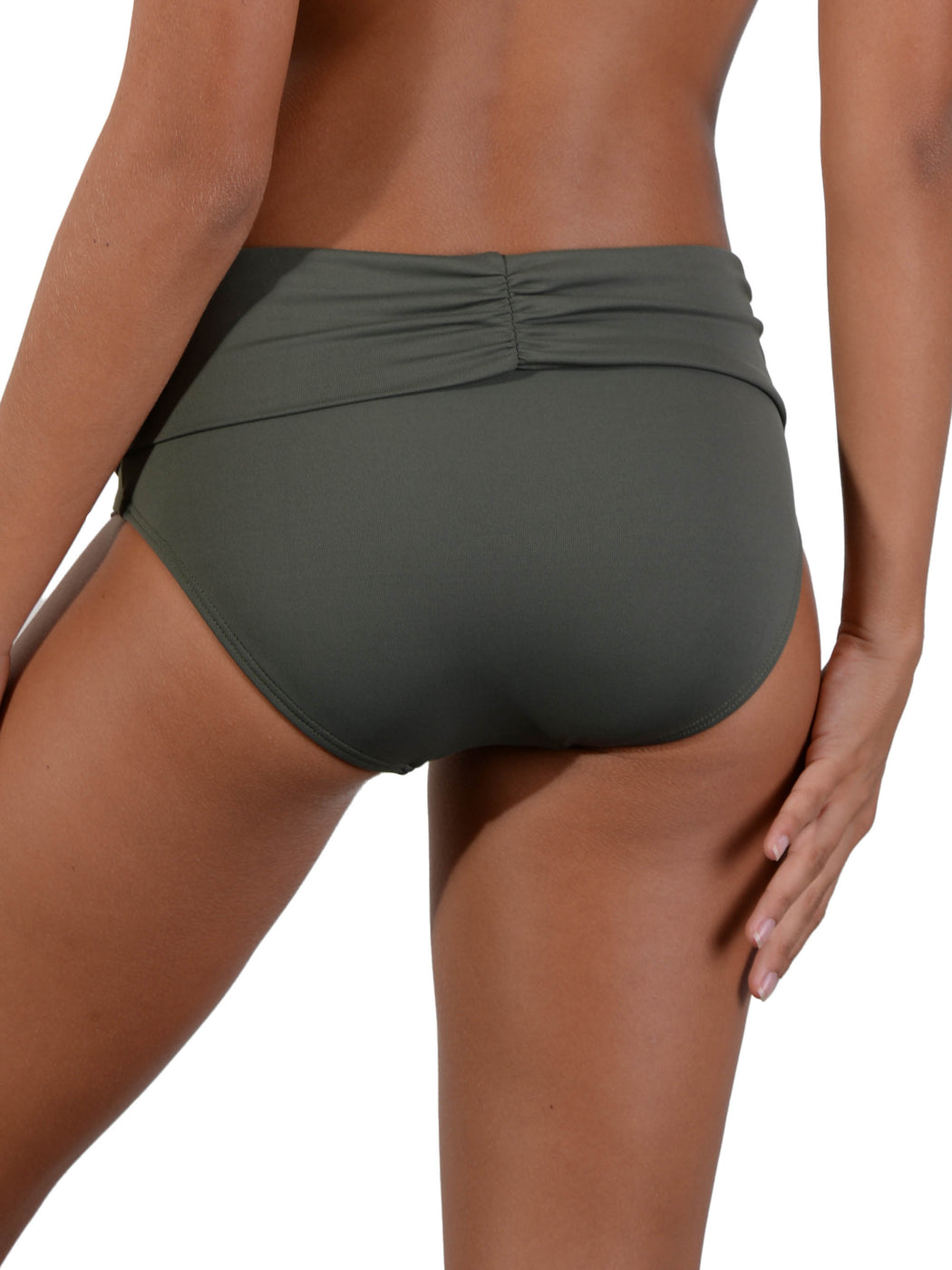 Back of Khaki Seduce Ruched Full Banded Bikini Pant