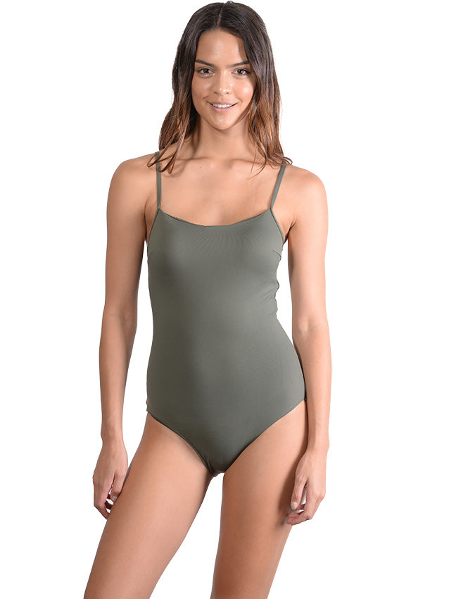 Front view of Khaki Seduce Cross Back Onepiece