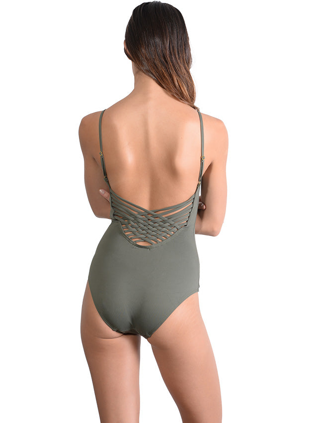 Back view of Seduce Cross Back Onepiece in Khaki