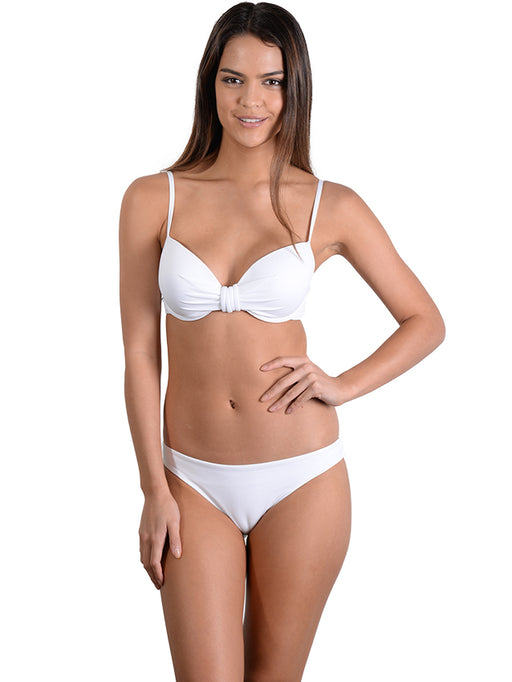 White Seduce D/DD Moulded Underwire Bikini Top with Hipster pant
