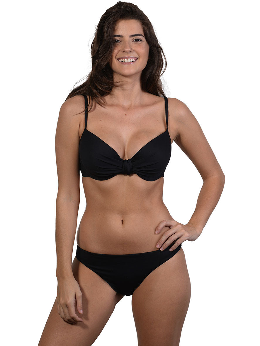 Black Seduce D/DD Molded Underwire Bikini Top by Finch Swim