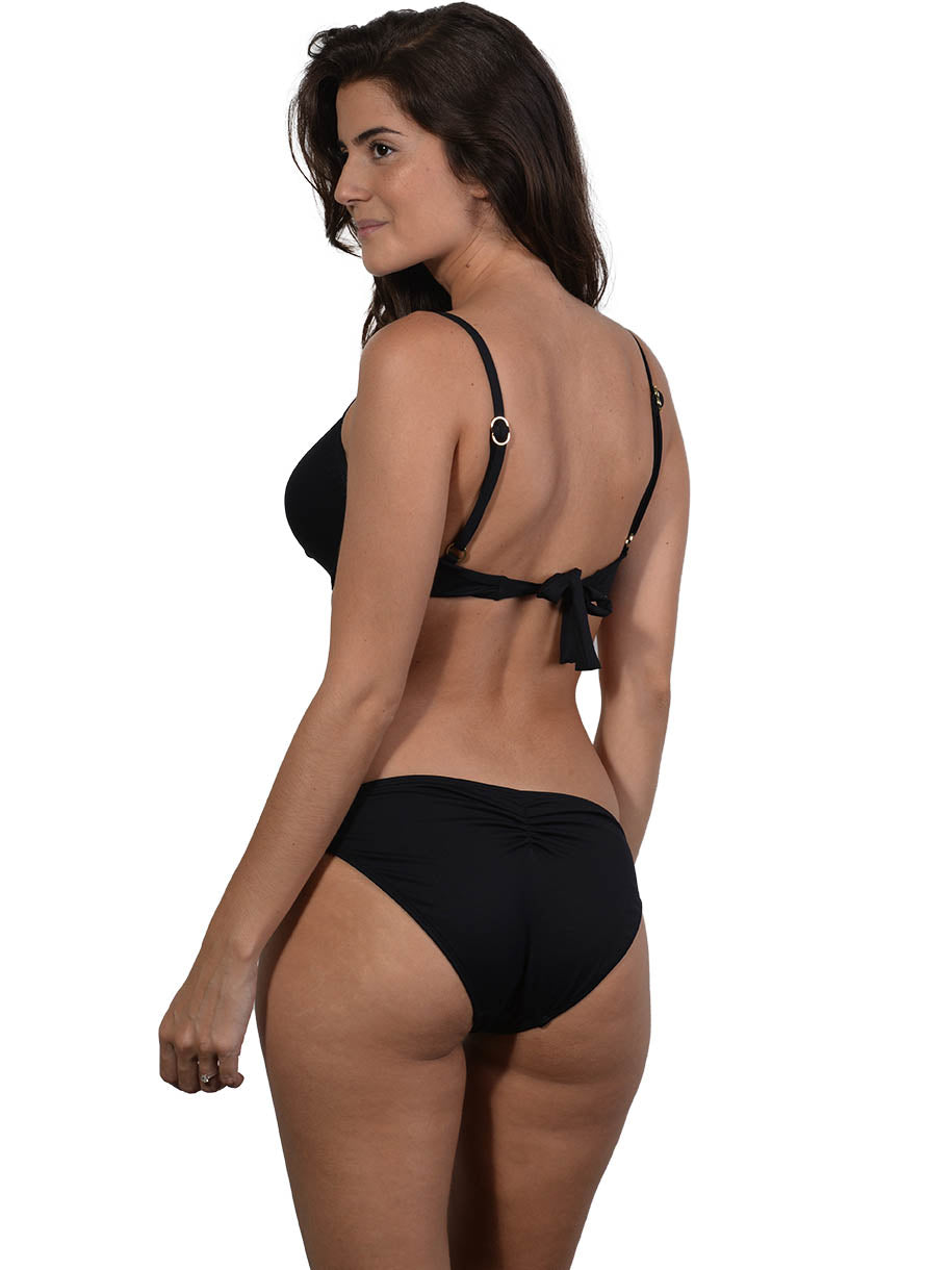Back view of Seduce D/DD Moulded Underwire Bikini Top in Black